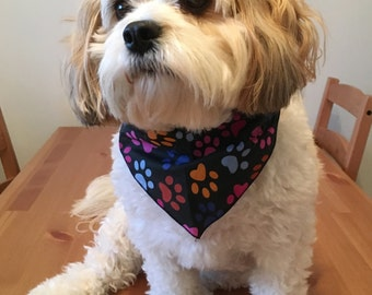 Stylish Handmade Dog Bandana - Black with Multi-Coloured Paw Prints