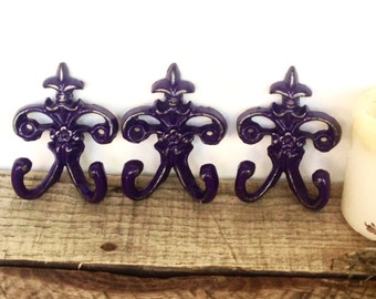 Fleur de Lis Wall Hooks - Purple/ or Choose Color - Entryway Wall Decor - Key Hook - Wall Key Holder - French Country Home Decor - Set of 3