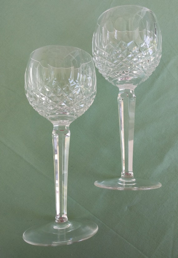 Waterford hock glasses red wine two glasses colleen - Waterford colored wine glasses ...