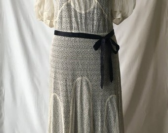 1930s Cream Organdy and Lace Wedding/Summer Dress