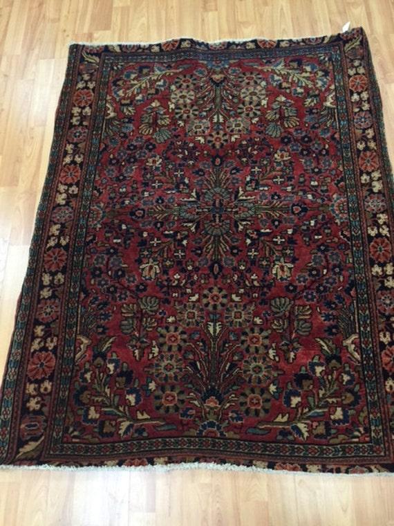 "3'4"" x 4'4"" Antique Persian Sarouk Oriental Rug - 1920s - Hand Made - 100% Wool - Vintage"