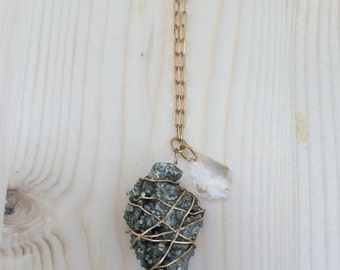 Wire-wrapped Pyrite Nuggett Pendant Necklace