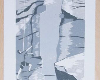 Climbing on Curbar Edge, Peak District, Derbyshire – Woodcut, Original Print