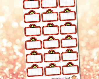Movie Night / Theater / Marquee Planner Stickers