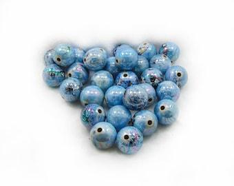 Acrylic Beads, Turquoise Acrylic Beads, 14mm Acrylic Beads, Turquoise Beads, Round Acrylic Beads, 10 pcs Acrylic Beads, Jewelry Making