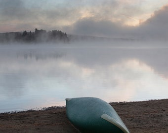 Lake of Two Rivers, Canoe by the Lake, Foggy Sunrise, Canoe at Sunrise, Algonquin Park, Blue, Ontario