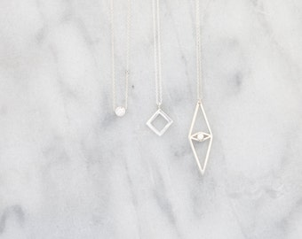 Open Square Sterling Silver Necklace, Rose Gold Geometric Square Necklace, Layering Necklace, Delicate Chain, Silver Geometric Necklace