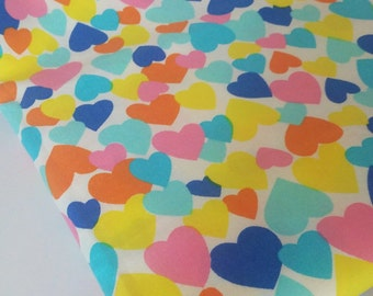 Colorful Hearts Cotton Fabric
