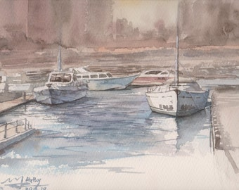 HARBOR - Original Watercolor Painting 12x9, landscape