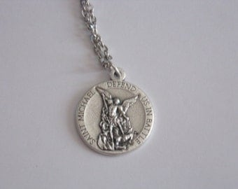 Saint Michael Army Medal with 24 inch stainless steel chain necklace