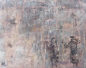 The Crying Wall,HaKotel Hamaaravi, Acrylic painting,Painting Texture, Canvas painting,Judaica paintings,Jerusalem painting,jewish paintings