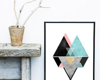 Geometric Art, Geometric Print, Scandinavian Design, Nordic Design, Abstract Art Print,Triangle Print,  Giclee print, Wall Art