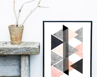 Triangle Art, Scandinavian print, Geometric Art Print,  Geometric Wall Art, Giclee print, Pink And Grey Decor, Abstract Wall Art, Art Print