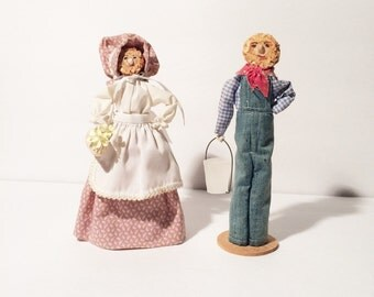 Folk Art Dolls, Corn Cob Dolls, Handmade Dolls, American Folk Art, Miniatures dolls, set of two