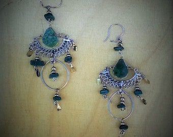 Boho, Tribal, Hippie Chrysocolla Earrings..
