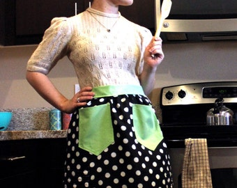 CUSTOM* 1950s Styled Apron with Built-In Oven Mitts