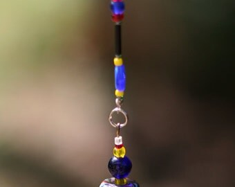 """Beaded Suncatcher, Gifts Under 20 - Red, White, Blue, Yellow and Black,  18"""" Long - Garden Suncatcher - 4th of July - Patriotic Decoration"""