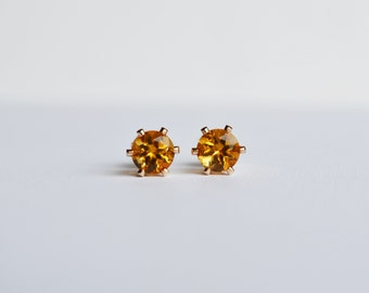 Citrine Studs, Citrine Stud Earrings, Gold Citrine Stud Earrings, Gold Citrine Studs, Golden Citrine, Birthstone Earrings, Bridesmaid Gift