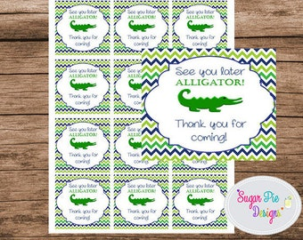 Favor Tags, Preppy Alligator Birthday Party, Alligator Birthday Party, Thank You, See you later alligator tags, Digital download tag
