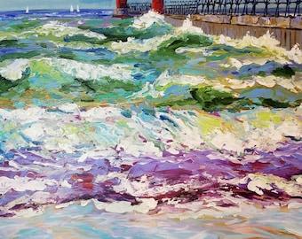 Print -Grand Haven Michigan, Lake Michigan, Pier, Beach