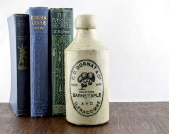 Antique Beer Bottle by C. C. Dornat & Co - Vintage Stoneware Pint Bottle - Barnstaple and Ilfracombe Pottery - Edwardian Stone Ware Bottle