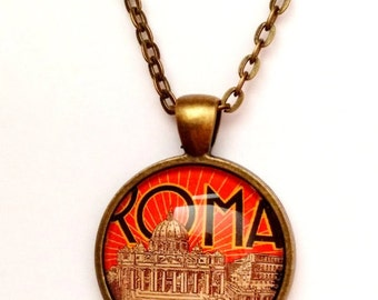 Vintage Rome Travel Poster Necklace, Bronze or Silver
