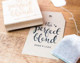 The Perfect Blend - Personalized Wedding Favor Stamp, Coffee and Tea Wedding Stamp, Wedding Favor Stamp, Wedding Stamp (Style 9)