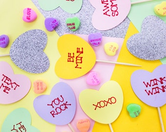 12 Valentine's Day Cupcake Toppers // Conversation Heart Toppers // Valentine Day // Heart Topper // Galentine's Day // Hearts // Galentine