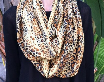 SALE Leopard Animal Print Silk Peachskin Infinity Loop Scarf