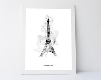 Eiffel tower print,Paris printable,black white Paris,Paris wall decor,digital prints, paris abstract art,Eiffel tower Paris,Eiffel tower art