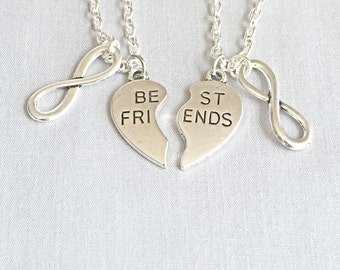 Silver Best Friends Necklaces - Set of Two Friendship Necklaces, Infinity, Forever,  Bff Charm, Friendship Necklace Set, Best Friend Jewelry