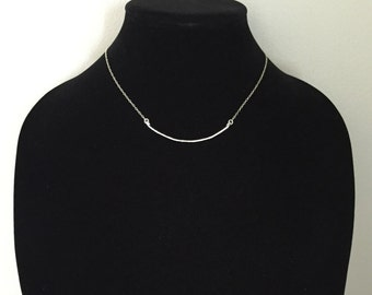 Curvy Bar Necklace - Sterling Silver