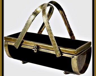 Vintage Lucite Box Purse,Vintage Box Purse,Vintage Velvet Box Purse,Vintage Handbag,Vintage Lucite Handbag,Vintage Velvet Handbag,Brass Bag