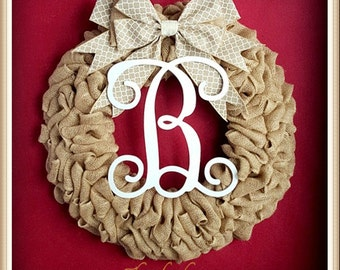 Christmas Wreaths for Front Door-Christmas Wreath-Front Door Wreaths-Christmas Monogram Wreath-Christmas Door Wreath-Rustic Christmas Wreath