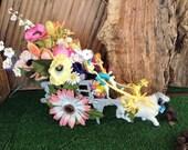 Easter decor.Victorian decor.Easter bunny decorations.Spring/Easter floral arrangement.Easter table centerpiece.Table decoration.Easter egg