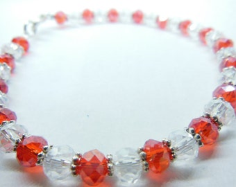 Red and crystal bracelet with silver spacers, christmas, valentines,