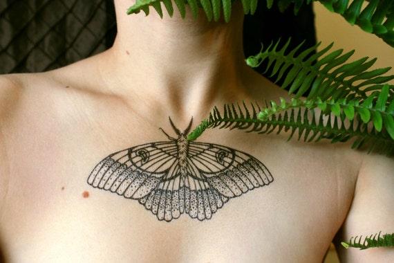 Moth Temporary Tattoo, Black Witch Moth, Black Line Tattoo, Winged Insect, Bug Tattoo, Symmetrical Tattoo, Chest Piece Tattoo