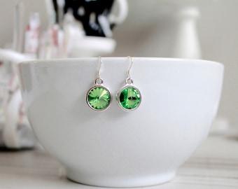 Peridot Green Swarovski Crystal and Sterling Silver Fishhook Earrings; Rivoli; Round