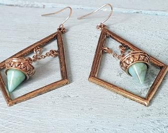 Antique gold earrings. Bohemian earrings. Dangle boho earrings. Long earrings. Turquoise earrings. Boho jewelry. Bohemian jewelry.