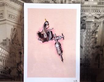 Tattoo machine / A4 art print