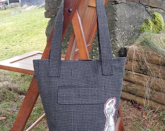 Reclaimed Suit Coat Handbag/knitting tote - Victorian/ Edwardian Style