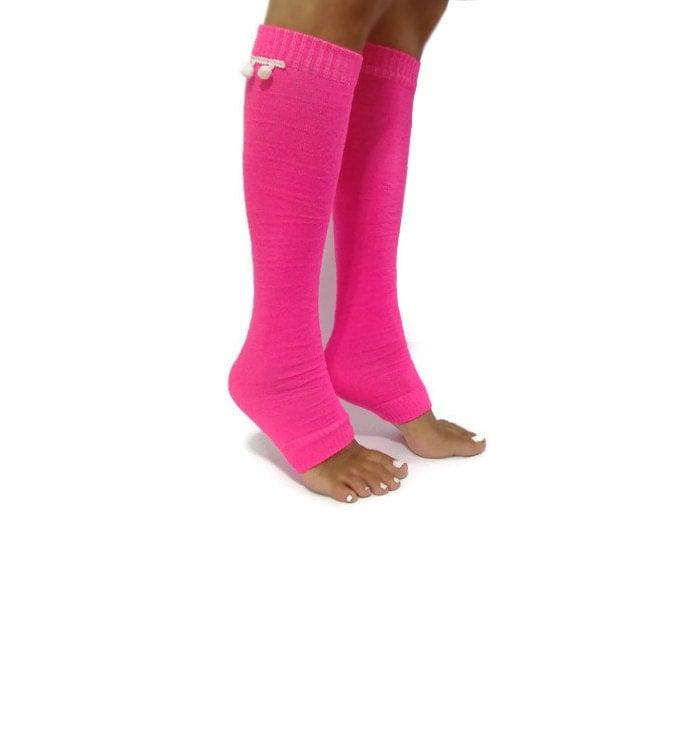 Neon Pink Tube Socks Sporty Leg Warmer Sporty Leggings Yoga