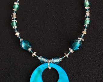 Recycled Blue Shell Necklace