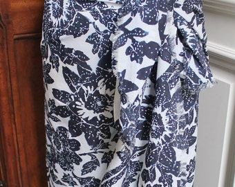 Navy Floral Lightweight Cotton Scarf and Pareo