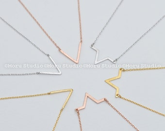 Dainty V Necklace, Chevron Necklace, Thin Chain for Layering, Triangle Necklace, Geometric Jewelry Gold,Silver,Rose Gold,Best Friends NBB058