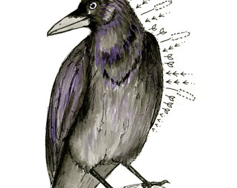 Crow - Original Ink and Watercolor Painting