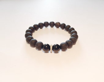 Black gemstone & REAL DIAMOND male bracelet