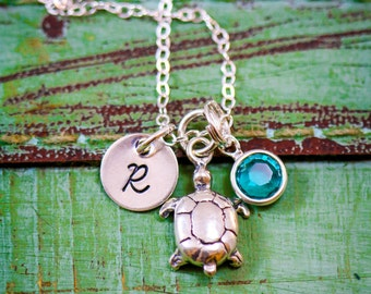 Sterling Silver Turtle Necklace • Dainty Sea Turtle Charm • Personalized Turtle • Custom Turtle • Beach Wedding Gift • Turquoise Bridesmaid