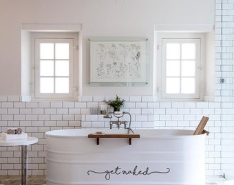Get Naked Bath Tub Shower Door Decal Sticker