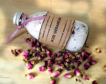 BATH SOAK,  Rose Geranium Bath Salt//Organic bath salts/Natural Bath Soak,Aromatherapy Bath Salts//Relaxing Bath, Organic Bath,Gift for Her